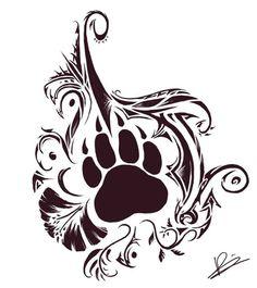 Nice Bear Paw And Tribal Design Tattoo