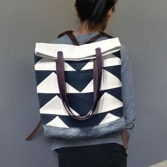 Convertible Tote, Backpack w/ Leather Straps -  Black Bunting Triangle