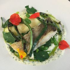 Media Tweets by The Peacock Rowsley (@PeacockRowsley) on Twitter - The Peacock Rowsley ‏@PeacockRowsley  Jul 29 This weekend's fish dish...pollock, potatoes, broad beans, leek, nasturtiums and brandade sauce #peacockkitchen