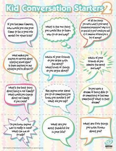 Conversation Starters for Kids Part 2 Social Work, Social Skills, Conversation Starters For Kids, Conversation Topics, Communication Orale, Kids Part, Michael Scott, School Counseling, Counseling Activities