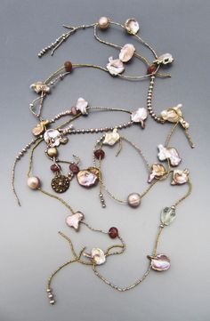 Fresh water pearls Antique button LuciaAntonelli.com Gypsy Jewelry, Pearl Jewelry, Jewelry Shop, Jewelry Art, Antique Jewelry, Beaded Jewelry, Jewelery, Handmade Jewelry, Jewelry Design