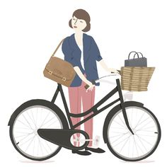 From the book: Heels on wheels - A ladies guide to riding and owning a bicycle.The book is little too cute for me, but the illustrations are sweet.