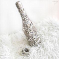Beautiful Bridal Champagne Glam Bottle by @ChampagneBisou IG: @champagnebisou…
