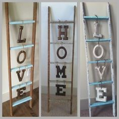wooden home decor Custom Country Decor Word Ladders! - Edmonton Home Dcor, Accents For Sale - Kijiji Edmonton Canada. Furniture Projects, Home Projects, Handmade Home Decor, Diy Home Decor, Rustic Furniture, Diy Furniture, Country Decor, Farmhouse Decor, Country Homes