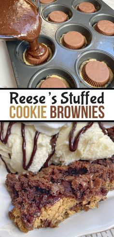 The BEST dessert ever! Peanut Butter Cup Stuffed Cookie Brownies (Quick & Easy) The BEST dessert eve Easy Chocolate Desserts, Brownie Desserts, Köstliche Desserts, Brownie Recipes, Cookie Recipes, Chocolate Lava, Peanut Butter Dessert Recipes, Best Dessert Recipes, Peanut Butter Cups