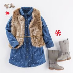 TOPPING HER WISHLIST: Stars, faux fur and riding boots (these sparkle!)