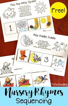 FREE printable set of Nursery Rhymes sequence puzzles, including Humpty Dumpty, Hey Diddle Diddle, Itsy Bitsy Spider, Baa Baa Black… Rhyming Preschool, Rhyming Activities, Kindergarten Literacy, Early Literacy, Preschool Learning, Teaching, Children Activities, Toddler Preschool, Phonics