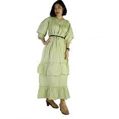 Green Cotton Long Ruffle Maxi Dress Plus size Long Loose by siam2u