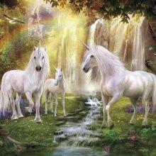 Fototapet - Waterfall Glade Unicorns