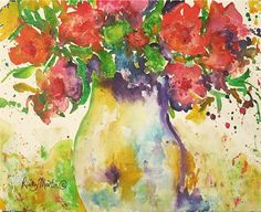 Bright  Vibrant  Flower Bouquet  in a Vase Original Fine Art ready to hang  Watercolor  Painting by ebsq Artist Ricky Martin FREE SHIPPING