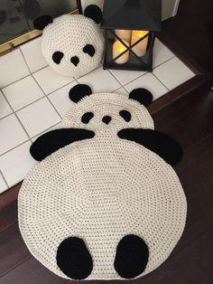 Panda rug crochet panda rug floor rug crochet rug children room rug any room rug wall hanging rug throw rug We adding Crochet Panda rug to our collection and it brings warm smiles and makes charming accent in any room! Crochet Panda, Crochet Amigurumi, Cute Crochet, Crochet For Kids, Crochet Animals, Crochet Carpet, Crochet Home, Crochet Gifts, Panda Pillow