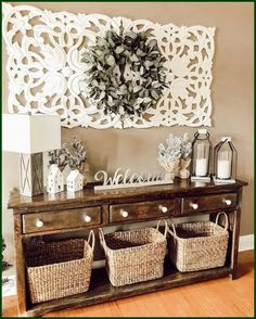 Many things can be done to décor the entryway. From entryway wall shelf to gallery. Need ideas to decorate yours? Read our 17 entryway wall décor here. Decor, Entryway Wall Decor, Large Wall Decor, Home Living Room, Farm House Living Room, Farmhouse Decor, Home Remodeling, Living Room Decor, Home Decor