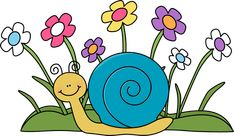 Cute Car Clip Art | Snail and Flowers Clip Art Image - cute snail sitting in front of a ...
