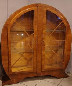 антикварная мебель - книжный шкаф арт деко, орех