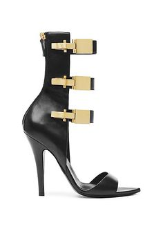 Anthony Vaccarello x Versus Versace   gold ski closure sandals