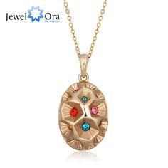 18 К позолоченный сплав подвеска многоцветный CZ эхинацея завод форма богемия ожерелья и подвески для женщин ( Jewelora NE101297 )