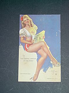 ZoeMozert Pinup Mutoscope Card, Newspaper