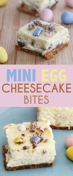 Mini Egg Cheesecake Bites are a perfect treat for Easter - the colours are fresh like spring, and the candy and vanilla cheesecake taste is amazing. bites easy bites keto bites mini bites no bake bites no bake easy bites recipes Desserts Ostern, Köstliche Desserts, Delicious Desserts, Dessert Recipes, Yummy Food, Easter Cheesecake, Cheesecake Bites, Cheesecake Recipes, Easter Recipes