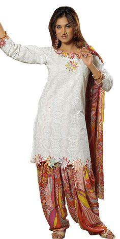 Punjabi Salwar Kameez - Semi Patiala Salwar Suit, Party Dress ~ Ladies Fashion Style