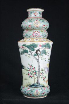 Chinese Polychrome Enamel Porcelain Vase, six character Daoguang mark on base