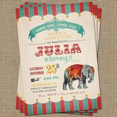 vintage carnival birthday ideas | Vintage Circus Birthday Invitation, Circus Party, ... | Birthday Ideas
