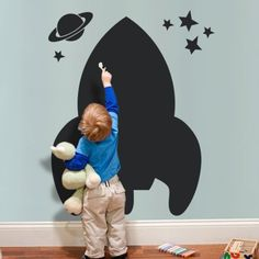 - Detail - Size Item No. 20012 Overall Dimensions x (approx.) Whats Included Spaceship Chalkboard Kids Wall Decal Stars Saturn Product Type Chalkboard wall decal Origin USA Chalkboard Wall Bedroom, Chalkboard Wall Kids, Playroom Decor, Playroom Table, Kid Decor, Playroom Ideas, Home Decor, Kids Wall Decals, Kid Spaces