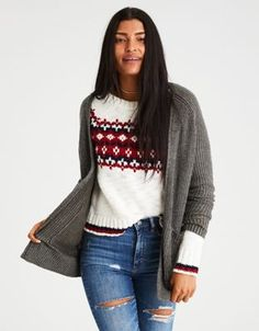 AE Slouchy Plaited Knit Cardigan by  American Eagle Outfitters | When it's time to cardi, we will cardi hard.When it's time to cardi, we will cardi hard. Shop the AE Slouchy Plaited Knit Cardigan and check out more at AE.com.