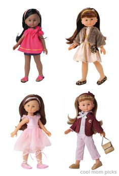 Fantastic dolls for a 5 year old who has outgrown baby dolls:  Corolle les Cheries complete with darling Parisian outfits.