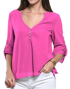 Happy Sailed Women 2016 Casual Chiffon Button V Neck Blouses Shirts S-XXL at Amazon Women's Clothing store: