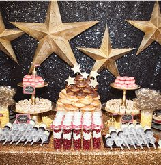 A Star is Born Hollywood Baby Shower Sweets Station   from The Hostess Blog   #hwtm    party ideas and inspiration  www.sweeteventdesign.com