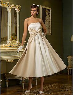 LIKE THE COLORS  A-line Princess Sweetheart Tea-length Satin Wedding Dress (710749) - USD $ 99.99