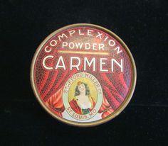 1930s Carmen Powder Box Vintage Complexion Powder Box Red Vanity Accessory Full Unused Rare