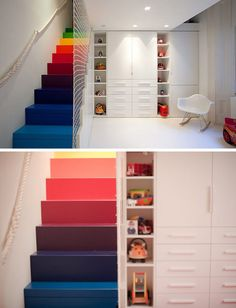 7 Inspiring Examples Of Rainbow Stairs // This all white playroom is brightened up with these rainbow stairs, that have a net safety railing.