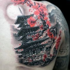 Japanese Tower Cherry Blossom Mens Back Tattoo With Shaded Grey Ink