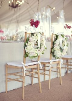 Darling wreath chair treatments. Photo by Sarah Kate, Photographer. #wedding #chairtreatment #wreath