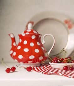 Tea Pot!  Polkadots!  They must have been thinking of you when they put those cherries in there.
