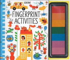 Fingerprint Activities  A colorful book full of pictures to fingerprint and with its own inkpad of seven bright colors to paint with. Bursting with fun fingerprinting ideas, from decorating turtles' shells and filling a vase with flowers to printing mice, a scary t-rex or a colorful caterpillar. The colorful inkpad allows children to make fingerprint pictures quickly and easily wherever they are, with no need for brushes and paint. Inks are non-toxic.