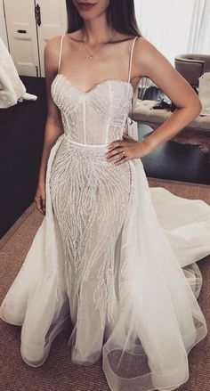 33 Breathtakingly beautiful wedding gowns with amazing details spaghetti strap mermaid wedding dress with detachable skirt, wedding dresses, most beautiful wedding dresses, wedding dress ,wedding gown Most Beautiful Wedding Dresses, Wedding Dress Sleeves, Modest Wedding Dresses, Elegant Wedding Dress, Bridal Dresses, Gown Wedding, Lace Wedding, Wedding Cakes, Wedding Rings