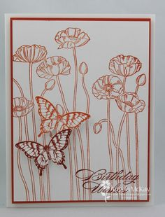 Pleasant Poppies - idea make white embossed butterflies on red paper! Pop!!