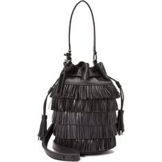 Loeffler Randall Fringe Industry Bucket Bag (439 AUD) ❤ liked on Polyvore featuring bags, handbags, shoulder bags, leather drawstring handbags, genuine leather purse, fringe handbags, fringe purse and genuine leather handbags
