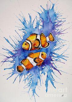 Neighbors. Watercolor by Zaira Dzhaubaeva. #clownfish #