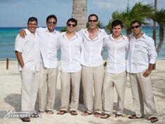 Casual groomsmen attire for a beach wedding!