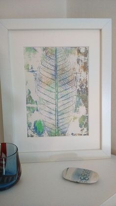 Mono print leaf framed picture  £35.00