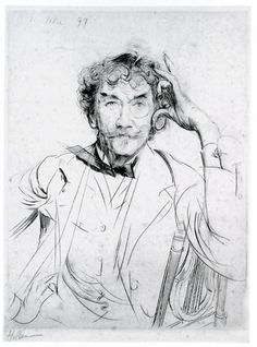 « Portrait de J. Mc Neill Whistler », drypoint, 1897 // by Paul-César Helleu