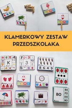 Klamerkowy zestaw przedszkolaka - 259 kart, pory roku, zmysły, sylaby, kolory, przeliczanie  Karty są zalaminowane.   Clip cards for preschoolers