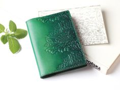 Green Leather Passport Cover  Passport Holder  by TwoStarlings