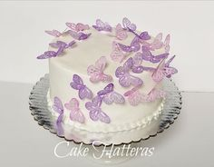 A small simple buttercream iced wedding cake topped with rice paper butterflies which have been dusted with violet and lavender petal dust. Purple Butterfly Cake, Butterfly Wedding Cake, Butterfly Birthday Cakes, Butterfly Cakes, Butterfly Party, 18th Birthday Cake For Girls, Panda Birthday Cake, Baby Birthday Cakes, One Tier Cake