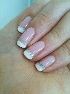 Nails. Simple variation on a classic french manicure - silver glitter :)