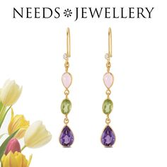 Step earrings with the håndslebne pink opal, Peridot, green and purple amethyst. All the right summer earrings  #earrings #earring #jewelry #gift #giftsidea #fashionable #handmade #uniqueearrings #earstuds #goldplated #Sterling #silver #NEEDSJEWELLERY