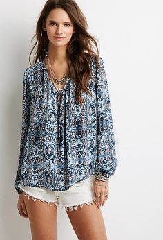 5bd9f532a42 Abstract Tile Print Peasant Top